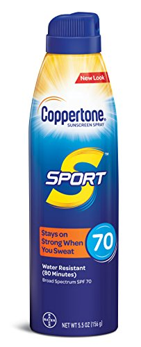 - Coppertone SPORT Continuous Sunscreen Spray Broad Spectrum SPF 70 (5.5 Ounce) (Packaging may vary)