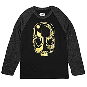 Disney Boys Star Wars Storm Trooper Long Sleeve Black Tee T-Shirt Size Medium