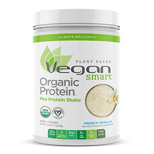 Vegansmart Plant Based Organic Pea Protein Powder by Naturade, 17.3 Ounce, French Vanilla