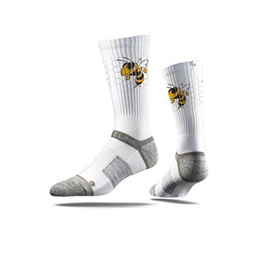 - Strideline NCAA Georgia Tech Yellow Jackets Premium Athletic Crew Socks, White, One Size