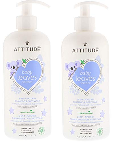 (ATTITUDE's baby leaves 2-in-1 Shampoo and Body Wash - Almond Milk (Pack of 2), with Blueberry Leaf Extract, 16 Oz Each)