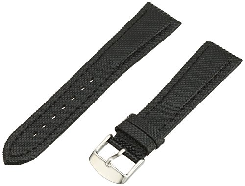 Hadley-Roma Men's MSM841RA-220 22-mm Black Kevlar with Leather Backing WatchStrap