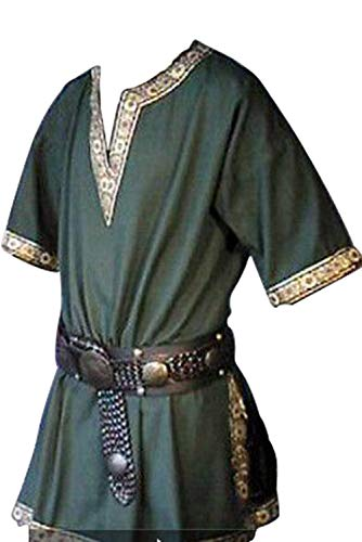 Newhui Men's Pirate Viking V Neck Cosplay Tunic Shirt Renaissance Medieval Poet's Rogue Shirt