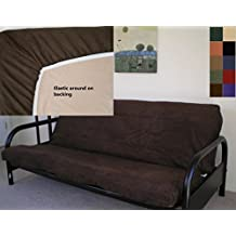 Octorose ® Full Size Bonded Micro Suede Easy Fit Fitted Futon Cover Sofa Bed Mattress Slipcovers (Chocolate Brown)