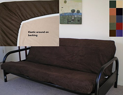 (OctoRose Full Size Elastic Around on Backing Bonded Micro Suede Easy Fit Fitted Futon Cover (Chocolate)