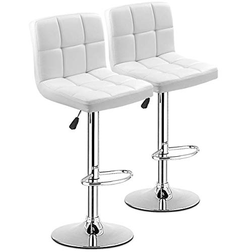 COSTWAY Bar Stool, Modern Swivel Adjustable Armless Barstools, Square Counter Height PU Leather Bar Stools for Kitchen Dining Living Bistro Pub Chair Counter Back Barstool(White, Set of 2)