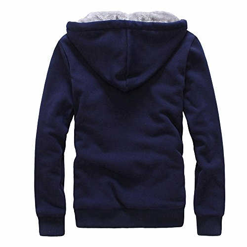 Toimothcn Mens Faux Fur Lined Coat Winter Warm Fleece Hood Zipper Sweatshirt Jacket Outwear (Blue3,M) ()
