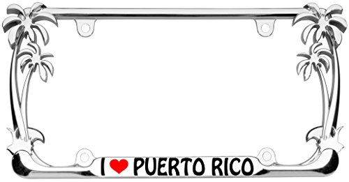 I Love Puerto Rico Palm Tree Design Chrome Metal Auto License Plate Frame Car Tag Holder with car banner flag