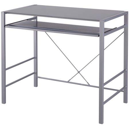 Mainstays Stylish Glass-top Desk Brings Organization to Your Work or Study Area, Grey + Cleaning Cloth by