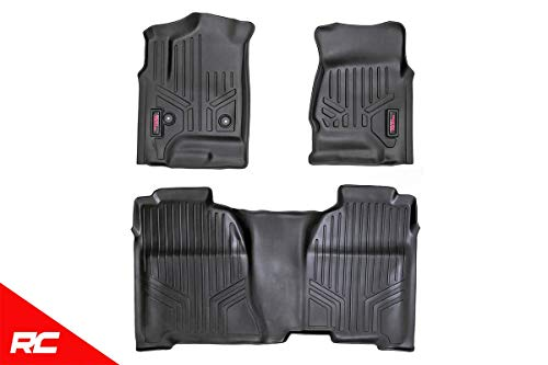 Rough Country Floor Liners Compatible w/ 2014-2018 Chevy Silverado GMC Sierra Crew Cab Half Console Front/Rear