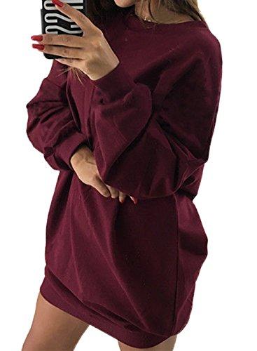 Chandail Col Mode Simple Party Rouge de Tous Longues Unie Tunique Pulls de Jours Vin Rond Casual Automne Hiver Long Manches Femmes Pullover Mini Shirts Robes Fashion Couleur Les Sweat OqwYqrZz
