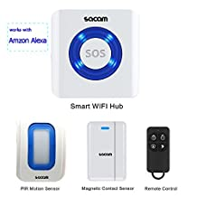 Wifi Security System Wireless,Alarm Kits Works with Amazon Alexa/Echo Dot,Indoor Motion Detector Magnetic Contact Sensor APP Control Accessories