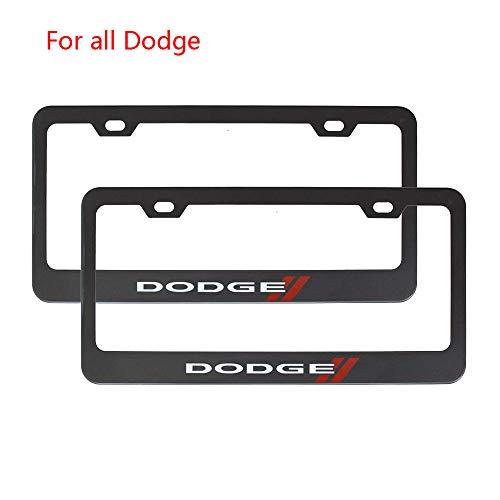 (Zhengyong Auto 2pcs Matte Black Stainless Steel License Plate Frame Set for Dodge,with Screw Caps Cover)