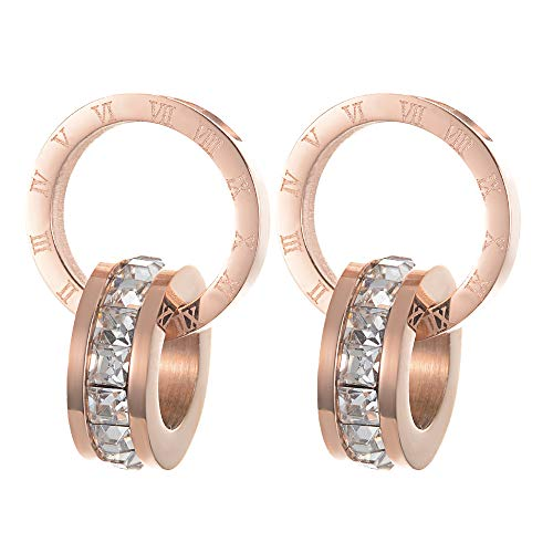 Yves Renaud 0.4 Inch Gold Tone Two Interlocking Rings Dangle Drop Stud Earrings - Roman Numeral Circle Interlocked with Single Row Crystals Hoop Ring - Hypoallergenic Fashion Jewelry for Women, Girls (Hoop Charm Double)
