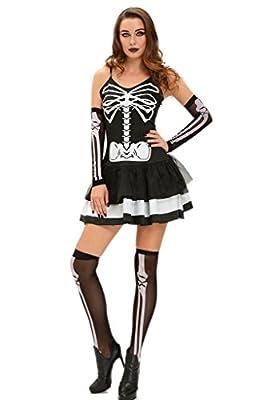 ZKESS Women's Halloween Costume 3pcs Skeleton Bone Skull Dress Costumes