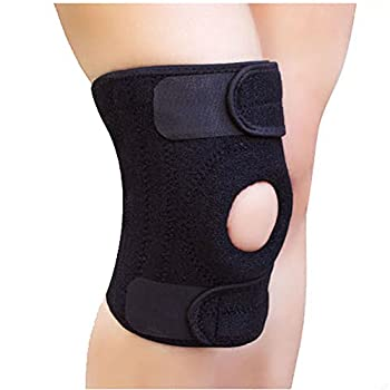 Happy Hours 2 X Knee Brace Support Open Patella Flex Athletics 3 Strap Breathable Lycra Fabric Knee Support Belt Reduces Pain Aids in Basketball Athletic Sports 4 Colors Available Black
