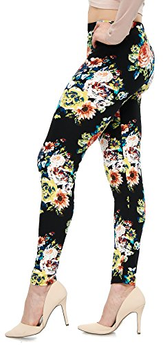 LMB Lush Moda Extra Soft Leggings With Designs- Variety Of Prints - 767F Floral On Black - Print Leggings Floral