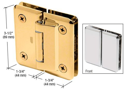 CRL Petite 182 Series Gold Plated 180° Glass-to-Glass Hinge Swings In Only by C.R. Laurence