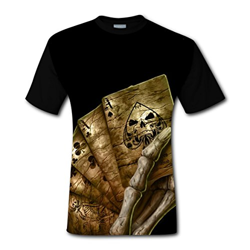 Men's Skull Playing Cards T-Shirt Short Sleeves Tee Creative 3D Print - Pics Black Naked Male
