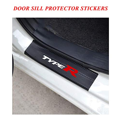 Universal Car Door Sill Entry Guards Protector Stickers with Type R Logo, Door Sill Protector Covers for Honda Civic FIT City HRV FRV series, Door Sill Scuff Plate Protector Pedals cover White