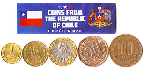 Hobby of Kings Different Coins - Old, Collectible Chilean Foreign Currency for Collecting Book - Unique, Commemorative World Money Sets - Gifts for Collectors - Collection of 5