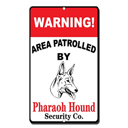 New Warning Area Patrolled by Pharaoh Hound Novelty Funny Metal Sign 8 in x 12 - New Pharaoh Hound