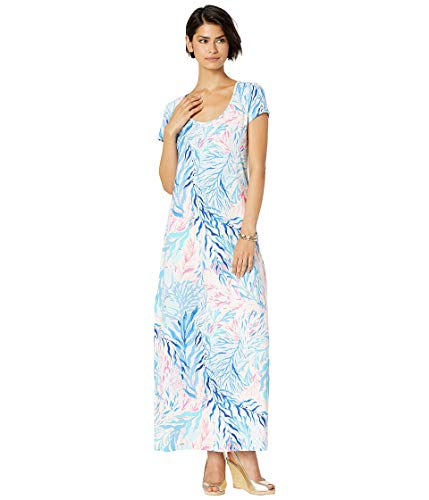 Lilly Pulitzer Women's Wynne Maxi Dress, Crew Blue Tint Kaleidoscope Coral, XS