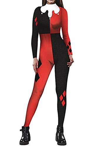 Women Captain Marvel Halloween Costume Superhero 3D Jumpsuit Bodysuit (Harley Quinn) X-Large -