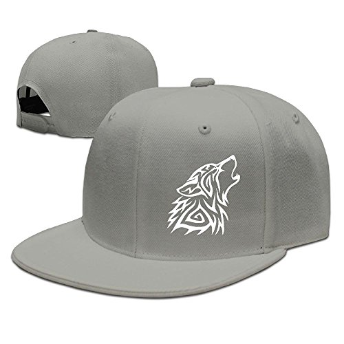Hat Baseball Tribal (Adult Snap-Back Caps,Tribal Wolf Howl Adjustable Hip Hop Flat Brim Baseball Cap)