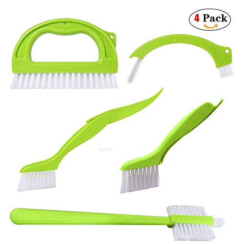 Grout Cleaner Brush Deep Cleaning Brush Set Juicer brush Set (4 in 1) Cleaning Brush for Groove Gap Cleaning Tools Door Window Track, Green, By (Grout Extractor)
