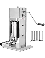 VEVOR Manual Sausage Stuffer Maker 3L Capacity Two Speed Vertical Meat Filler Stainless Steel with 5 Stuffing Nozzles, Commercial and Home Use