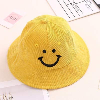 JINGB Home Spring and Autumn Baby hat 1-3 Years Old Fisherman hat Boys and Girls Cute Smiley Basin hat Autumn and Winter Corduroy Children Color : Black