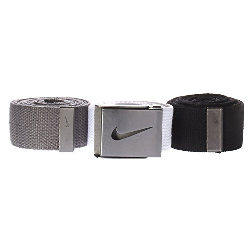 Sport One Size Se adapta a todos los Swoosh Buckle Web Belt 3 Pack (Negro / Blanco / Gris)