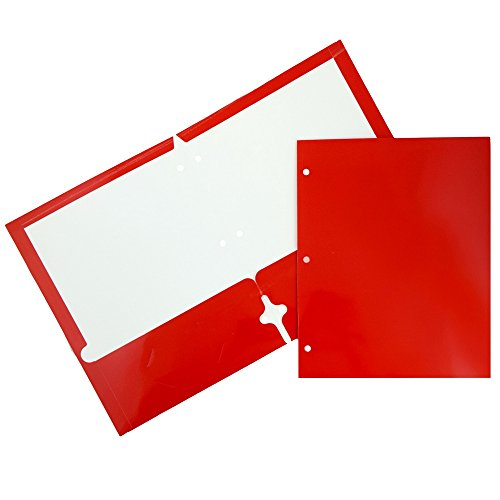 Ruby 2 Hole - JAM Paper Laminated Two Pocket Glossy 3 Hole Punch Folders - Red - 6/pack