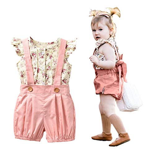 Unistylo 2PCS Girl Toddler Clothes Floral Suspenders Pant Set,Baby Girls Clothes Long Sleeve Shirt+Sleeve Overalls (Suspenders, 18-24 Months)
