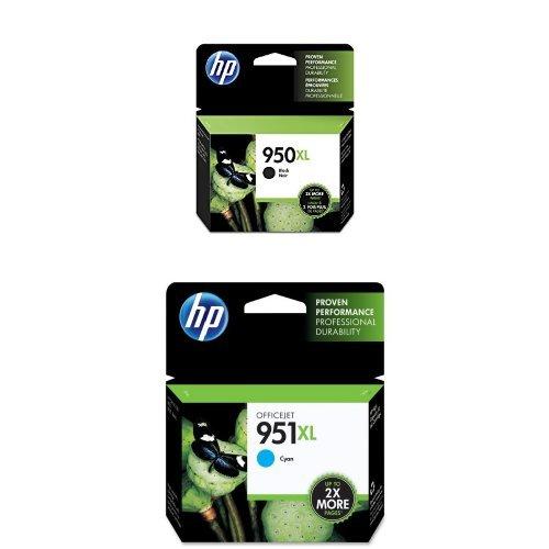 HP 950XL Black High Yield Original Ink Cartridge (CN045AN) and HP 951XL Cyan High Yield Original Ink Cartridge (CN046AN) Bundle