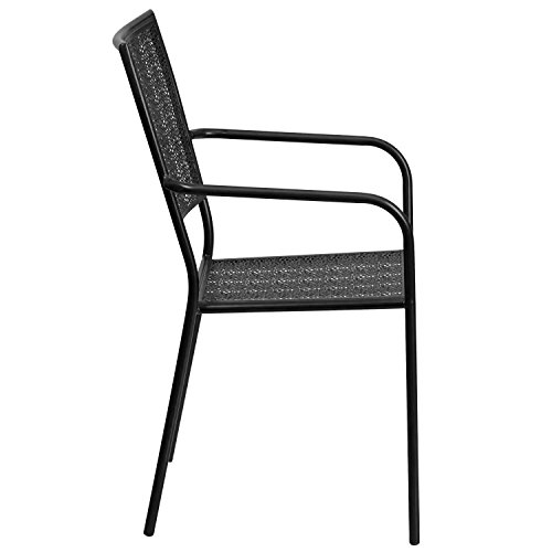 MFO Black Indoor-Outdoor Steel Patio Arm Chair with Square Back by My Friendly Office (Image #1)