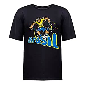 Custom Mens Cotton Short Sleeve T-shirt,2014 Brazil FIFA World Cup soccer_player_runkick BRASIL black
