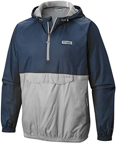 - Columbia PFG Terminal Spray Anorak 1/4 Zip Hooded Pullover, Small Navy/Gray