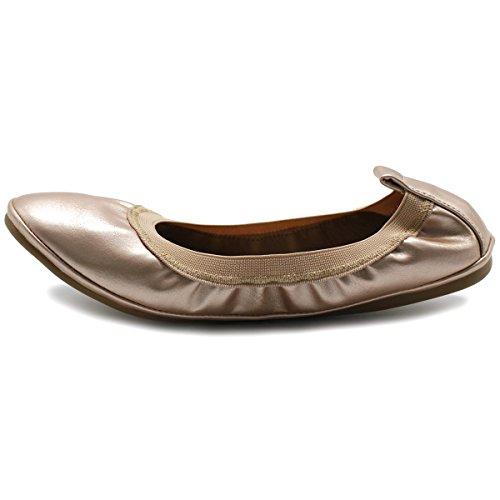 Ollio Womens Collier De Chaussures Chaussure Tirette Confort Ballet Plat Rose Or