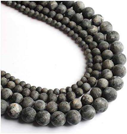 WEIYUE Cuentas sueltas redondas mate para el trabajo a mano, collar de piedra natural, 4/6/8/10 mm (color: labradorita negra, tamaño: 6 mm)