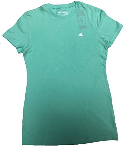 adidas Women's Training Ultimate Tagless 100% Cotton Go-To Short Sleeve Crew Tee, Eazy Green S17, X-Small (Womens Adidas Spring)