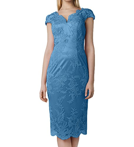 Knielang Jugendweihe Brautmutterkleider Kurzarm Damen Charmant Blau Kurz Spitze Rosa Abendkleider Rosa Kleider U8nwgA