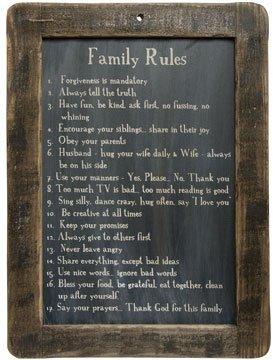 Framed Family Rules Blackboard
