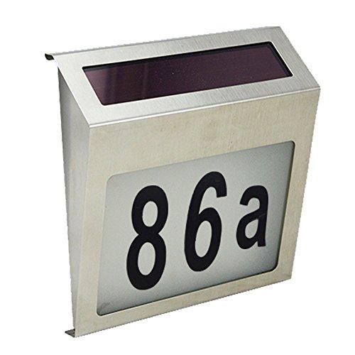 YesMae Solar Hausnummernleuchte, Edelstahl LED Solar Lichtsensor Lampe Licht mit Zahlen Buchstaben