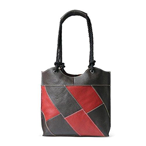 Ladies shoulder Leisure Red leather Bag Shopping Bucket work travel Bag Handbag Shoutibao Coffee Oblique Messenger Simple Plaid 4BTx1qnd