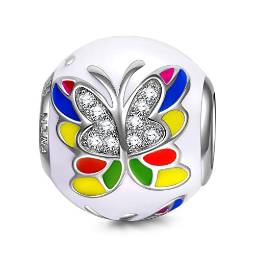 NinaQueen 925 Sterling Silver Bead Charms for Bracelets Necklace Jewelry Making Bday Anniversary Graduation Wedding Women Gifts for Her-Colorful Butterlfly