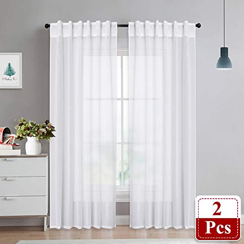NICETOWN White Extra Long Sheer Curtains - Soft Translucent Voile Sheer Light & Airy Drapes Window Covering for Patio Sliding Glass Door, 2 Panels, 55-inch Wide x 95-inch Long ()