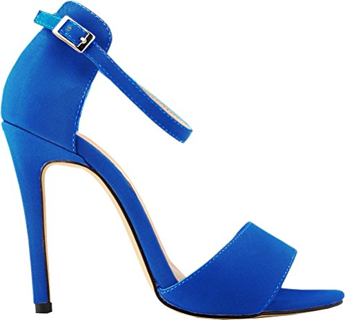 Salabobo Womens Sexy High Heel Peep Toe Buckle Ankle Strap Nubuck Sandals Blue mqYgnG