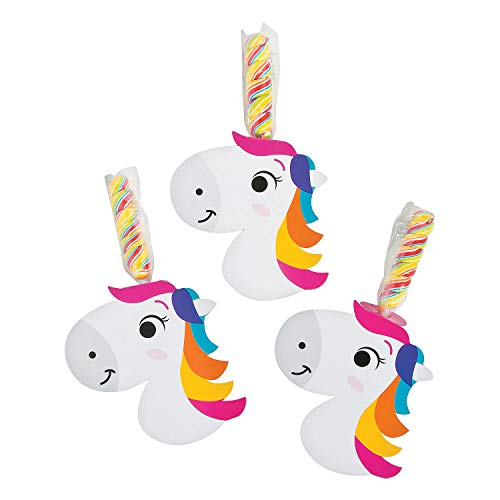 Fun Express - Unicorn Horn Sucker Set - Edibles - Sucker & Pop - Swirl & Twist Pops - 12 Pieces -